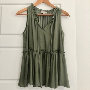 LOFT Outlet Silky Ruffle Top in Sage Green